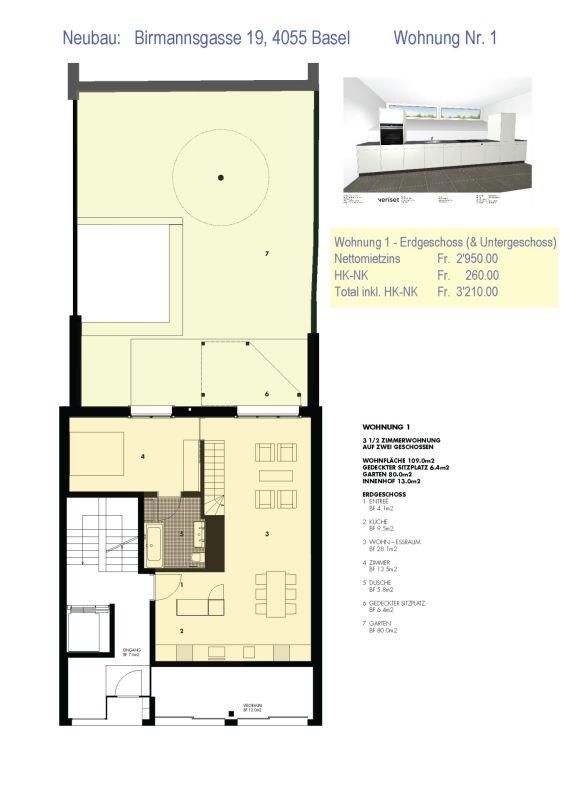 Planskizze Erdgeschoss mit Küchenskizze