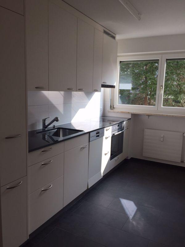 Moderne Küche mit Geschirrspüler, grossem Kühl- und Gefrierschrank