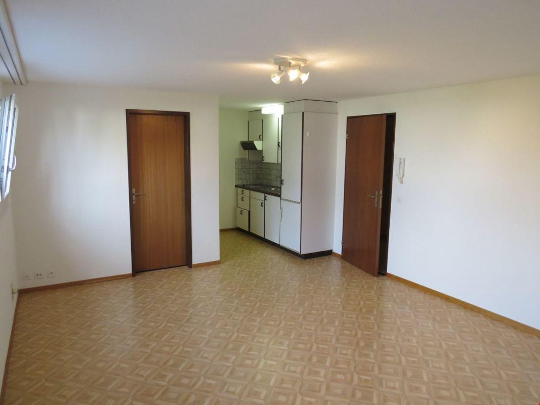 Zimmer mit Blick zu Eingangstüre, Küche und Bad