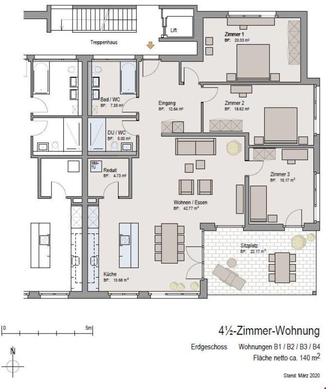 Grundrissplan Wohnungen B