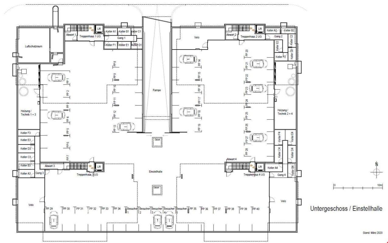 Grundrissplan Untergeschoss (Einstellhalle   Keller)