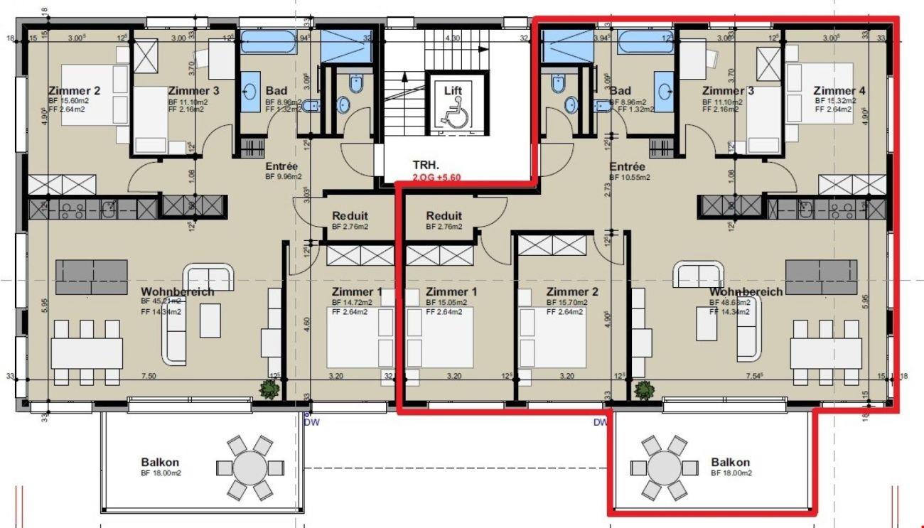 Luxuriöse 5.5-Zimmer-Wohnungen mit grossem Balkon