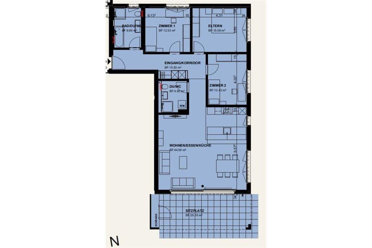 4½ Zimmerwohnung im EG / Erstbezug 01. April 2021