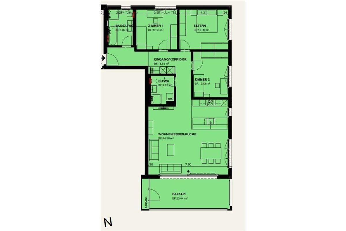 4½ Zimmerwohnung im 1. OG, Ost / Erstbezug 01. April 2021