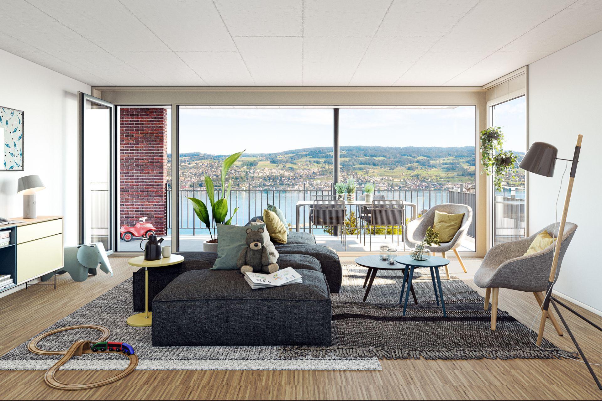 Wohnung, Panoramablick nach Zürich und in die Bündner Alpen